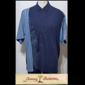 Tommy Bahama Mens Blue Embroidery Floral XXL Shirt